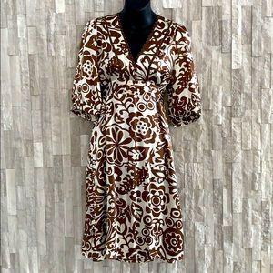 Aaiko dress silk with tieback brown cream sz Large
